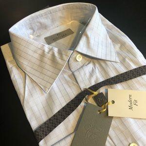 Canali Men's Modern Fit Dress Shirt Microcheck